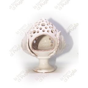 Pumo in ceramica porta candela