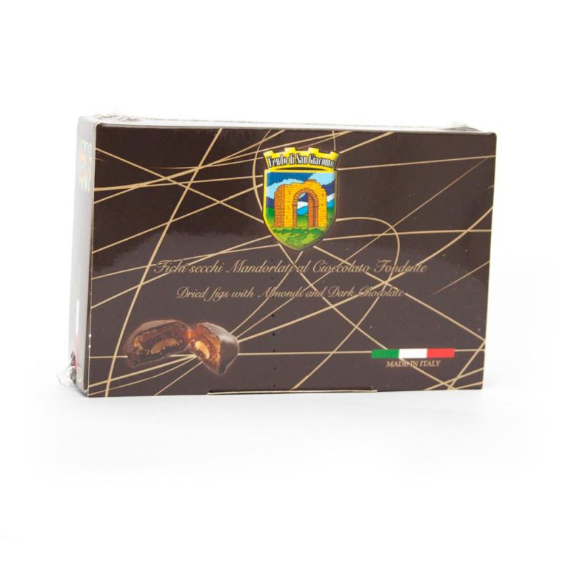 Mit Schokolade überzogene Mandelfeigen