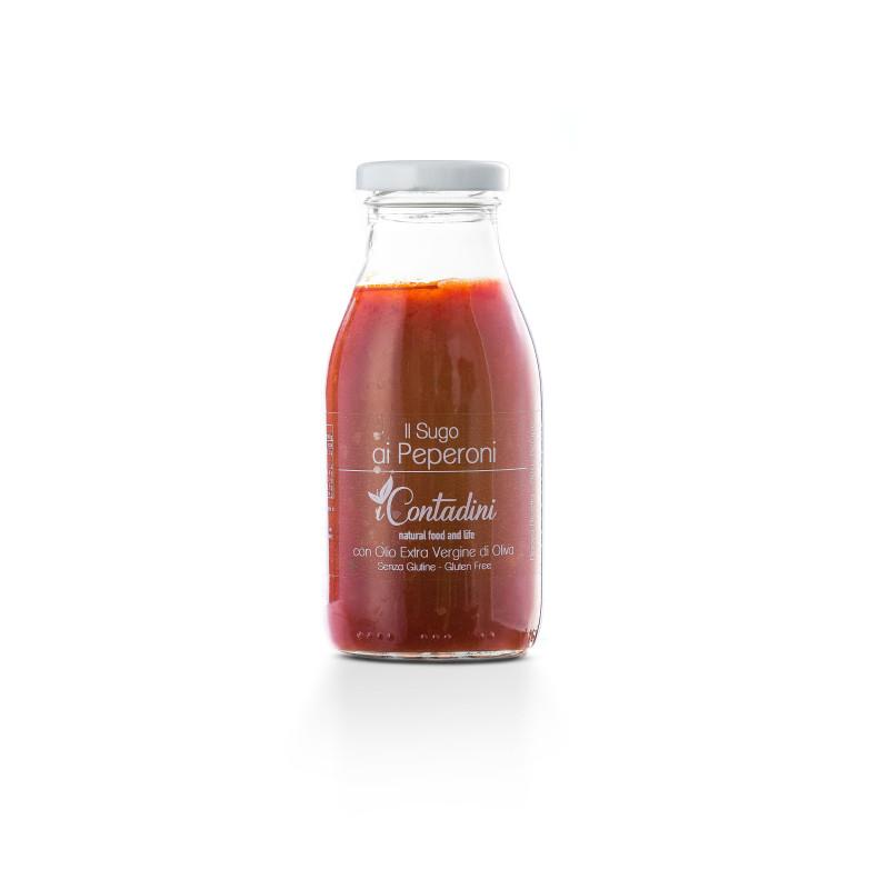 Gebrauchsfertige Tomatensoße mit süßen Paprikas