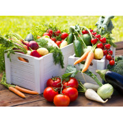 The farmer's box with fresh seasonal vegetables