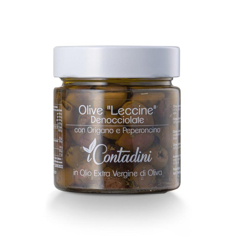 Olive Leccine denocciolate e condite