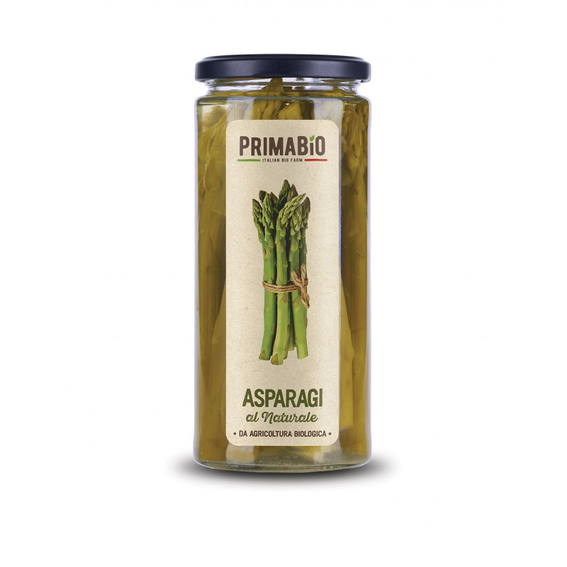 Natural whole organic asparagus in glass