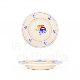 Enameled dinner plate in Terracotta with Rooster 19cm