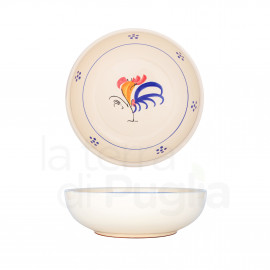 Large enameled Terracotta bowl with Rooster 19cm