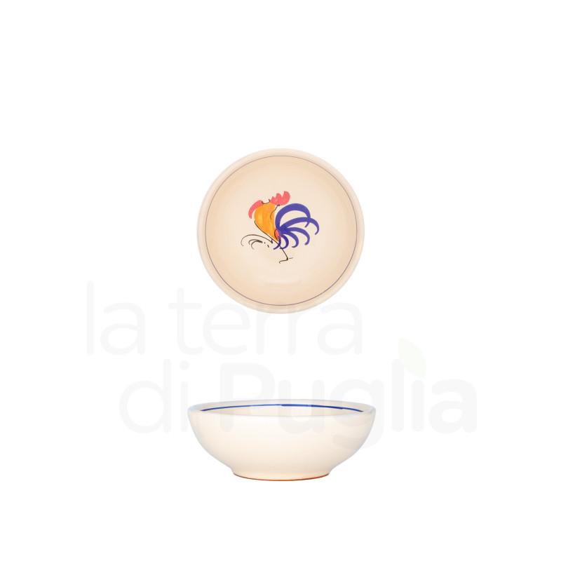 Kleine emaillierte Terrakotta-Schale mit Hahn 9cm