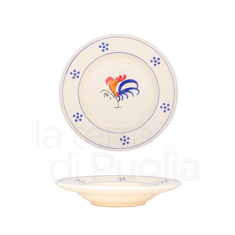 Terrakotta emaillierter Suppenteller mit Hahn 18cm