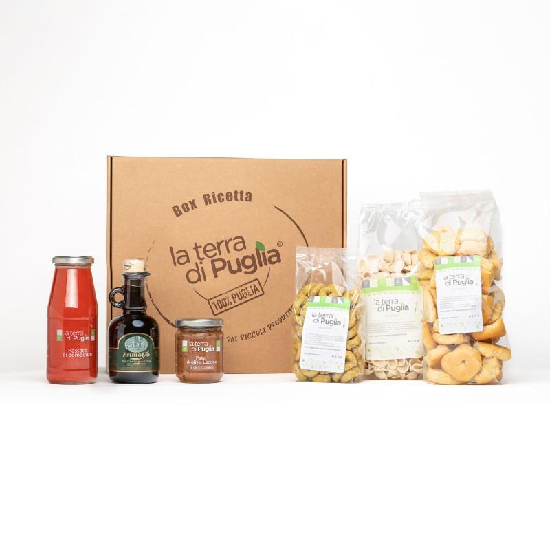Geschenkbox mit typischen Produkten aus Apulien