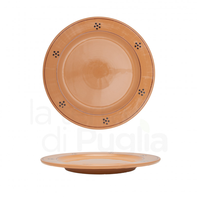 24 cm pottery dinner plate brown