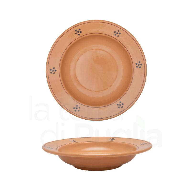 Assiette creuse 23cm en terre cuite marron