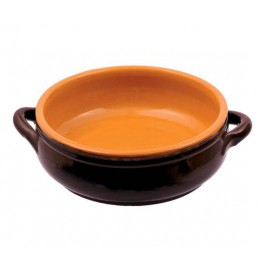 Low glazed clay saucepan