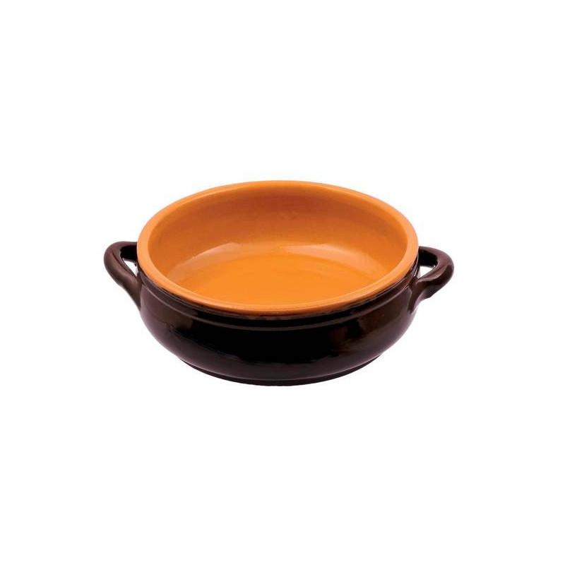 Low glazed clay saucepan