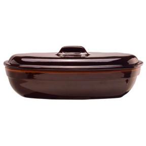 Glazed clay casserole